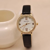 Wholesale China Best Selling Watches Alibaba Express Hot Sale Crystal black Leather Watch in Stock