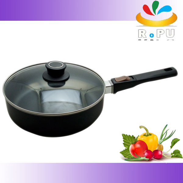 Home kitchen cookware Pressed Aluminium Non-stick Coating Deep Frying Pan with lid