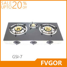 GSI-7 Fvgor manufacturer 3 burner gas cooker glass top table stove
