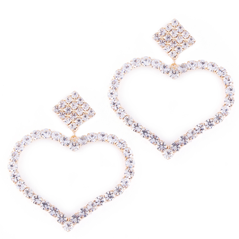 Hot luxury crystal gold earrings for women cute heart big earrings fashion jewelry earrings 2019 new E3168