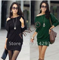 NEW Women's Off-Shoulder Tops Shirt Zipper Korea Batwing OL Long Sleeve Cotton Dress M,L,XL 3492