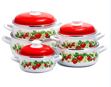 5pcs enamel strait pot sets &cookware with two side decal and plastic lid