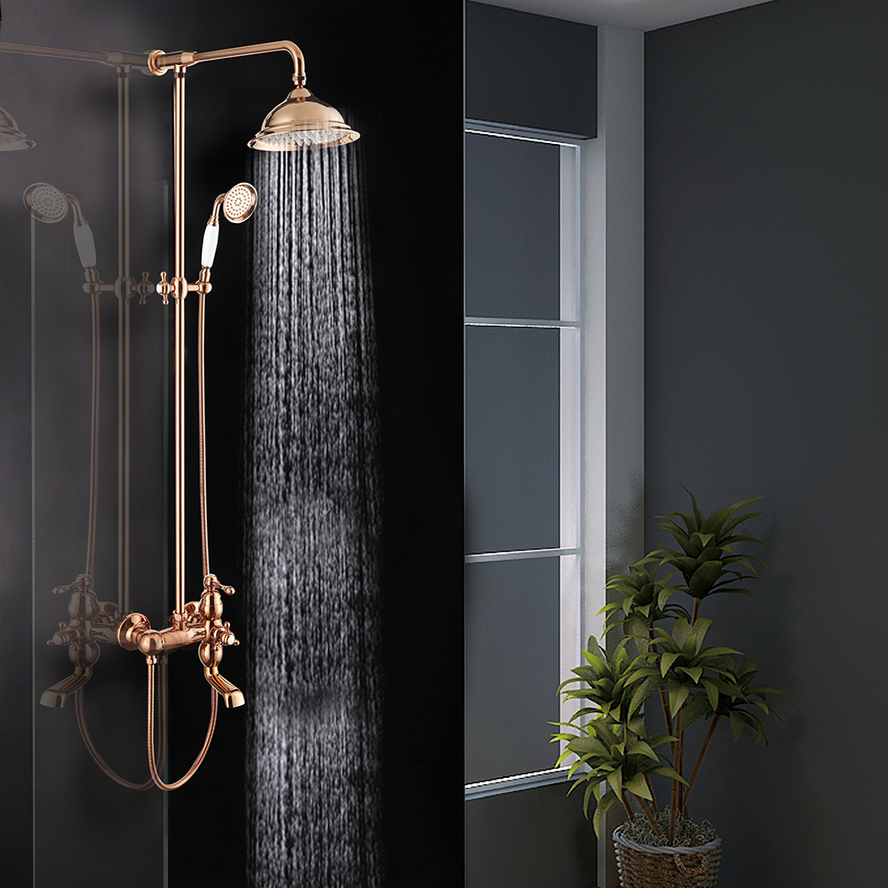Factory price European style brass rose gold rain bathroom shower mixer bath faucet set