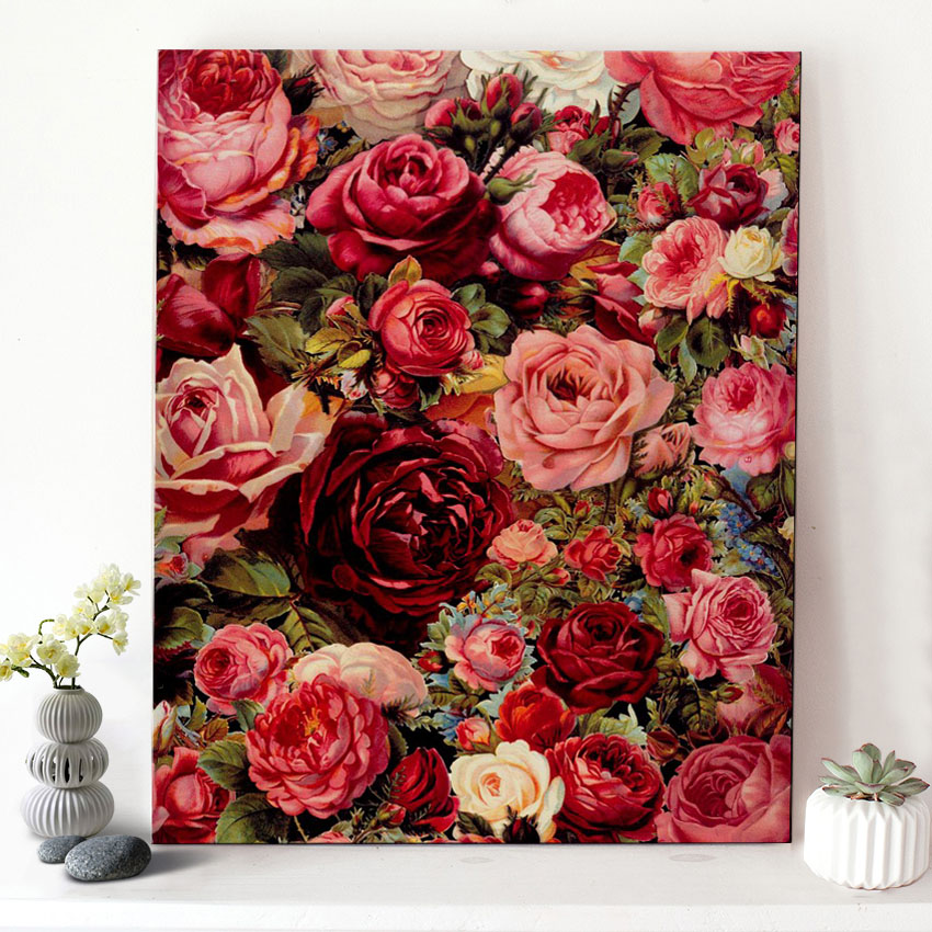 CHENISTORY DZ1175 Paint By Numbers Oil Picture Blooming Roses On Canvas With Frame For Adult