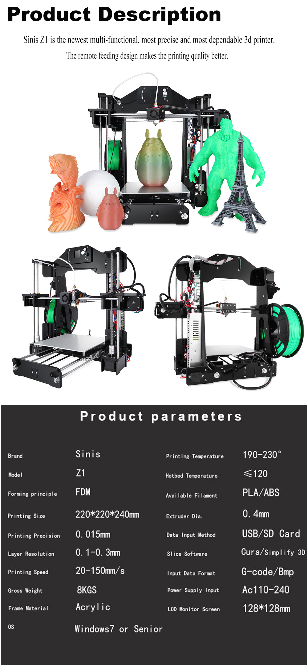 Newest Sinis Z1 3d Printer Prusa i3 with Laser Engraving Cutting with High Accuracy for Personal Printing Best 3d Printer