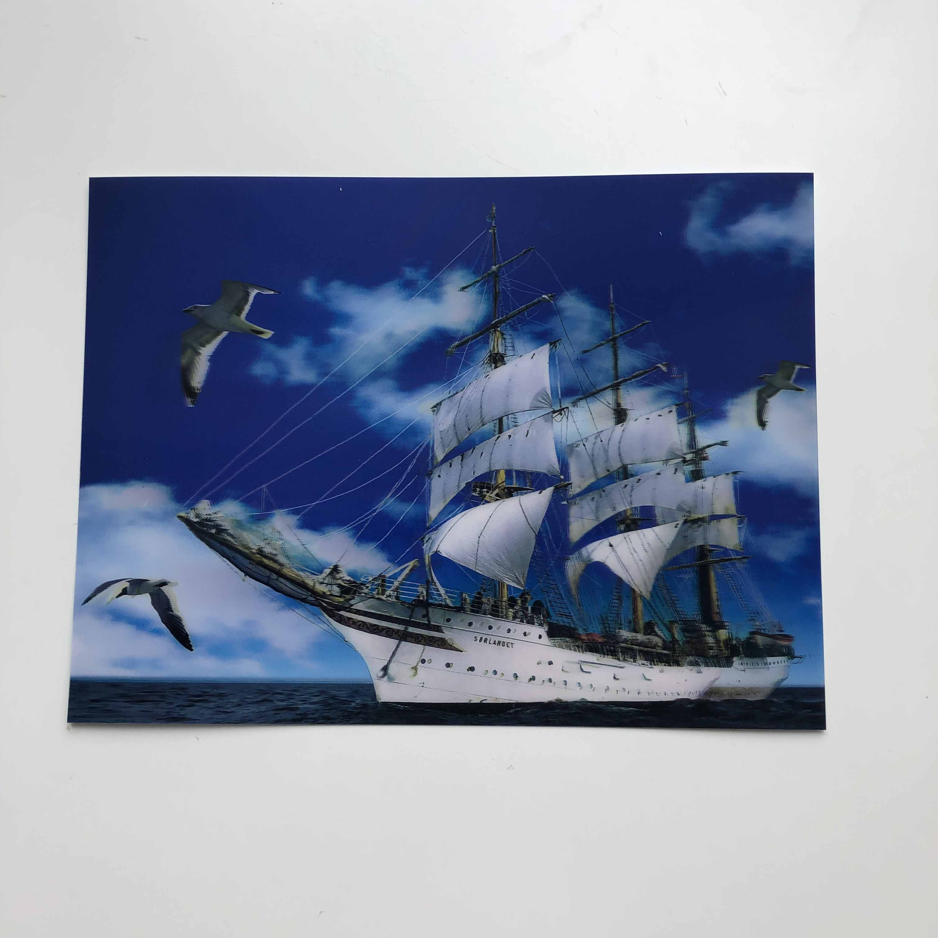 Wholesale 3d lenticular moving picture of boat/dolphin  for souvenir