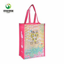 Pink custom printed reusable eco friendly biodegradable grocery shopping bags