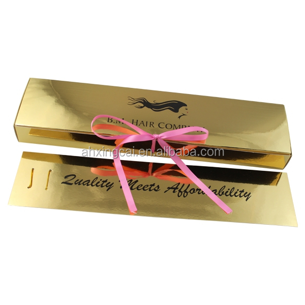 Custom Printed Gold Paper Card 3 Bundles Hair Extension Packaging Box