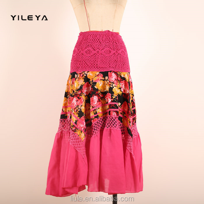 fishtail style big hem designed casual women floral cheap long skirts for sale