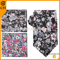 100% cotton italian floral neck ties flower necktie and pocket square