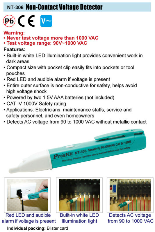 Brand Proskit NT-306 Non-contact AC Voltage Tester 90~1000V With Flashing LED And Beeper Alarm