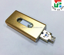 Golden color push and pull otg mobine phone and computer multifunction USB flash drive