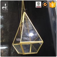 Factory Direct Sale China's geometry glass house round candle holder with brass color shape
