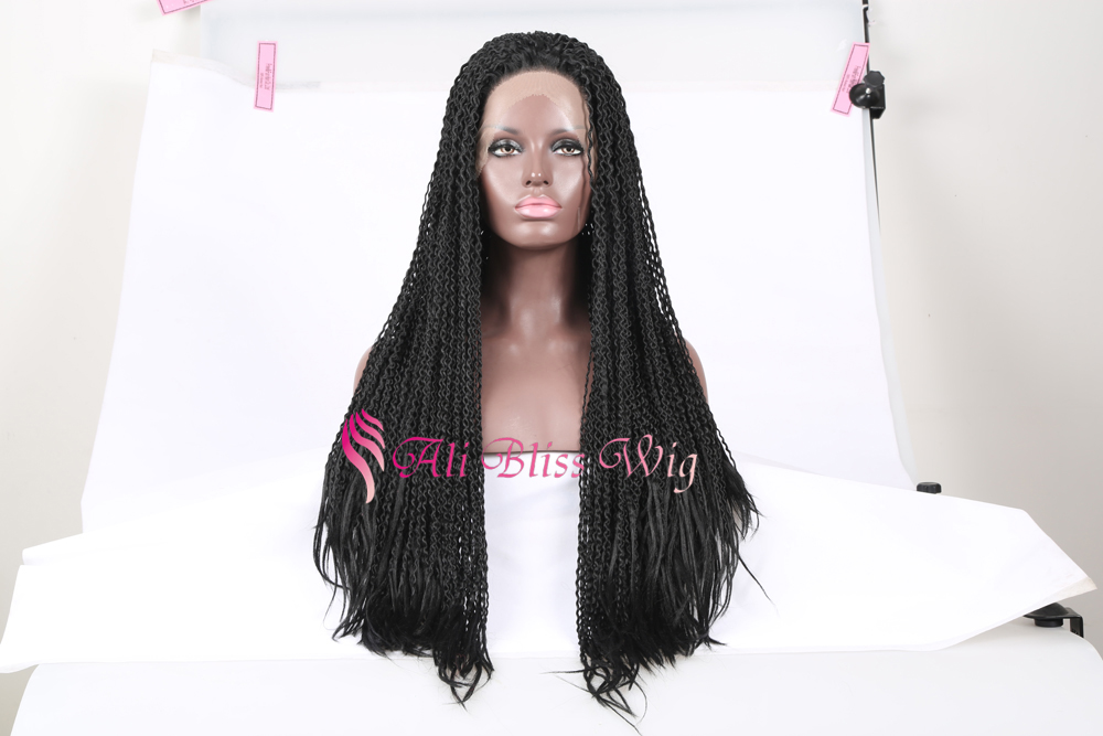 26 inch cheap heat friendly black dreadlocks curly synthetic hair for jumbo braiding lace front synthetic hair wigs for african