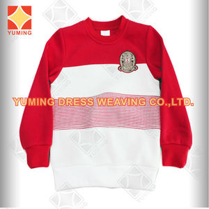 2014 girl's fashion red and white striped fleece whitout hoodies