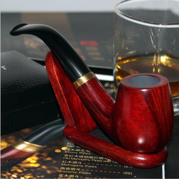 Wooden Smoking Pipes Stand, Smoking Pipe Holder, Smoking Pipe Rack for 4 Tobacco Smoking Pipes