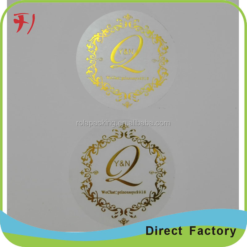 100% Direct manufacture hot stamping oval transparent logo sticker, plastic gold foil PVC/PET/BOPP vinyl label printing