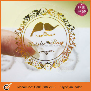 customized clear plastic adhesive labels with gold foil stamp