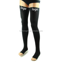 Compression Thigh High Stockings Open Toe 20-30 mmhg Silicone Top Band
