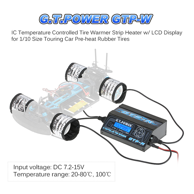 911130-G.T.POWER GTP-W IC Temperature Controlled Tire Warmer Strip Heater w/ LCD Display for 1/10 Size Touring Car Pre-heat Rubb