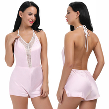 Cheap One Sale Exquisite Satin Pink Halter Neck Nightwear Open BackChemise Carreaux