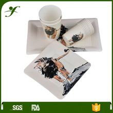 Ningbo factory paper cup plate napkin spoon disposable plates tableware