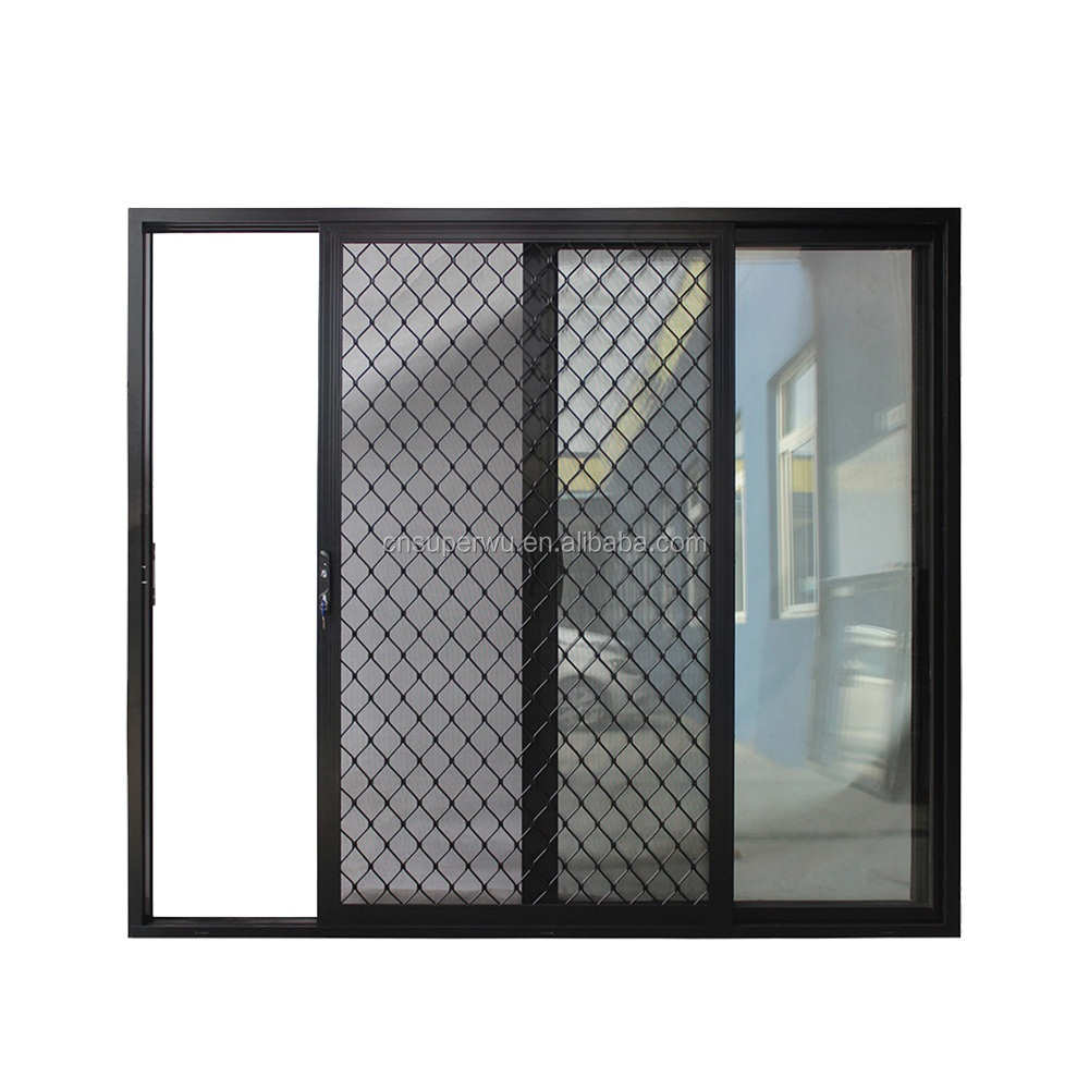 Shanghai Superwu prefabricated aluminum windows and doors 100% custom design aluminum glass doors with insect screen