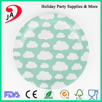 Party Supplies Disposable Round Food Grade Paper Kids Dinner Plate for Tableware
