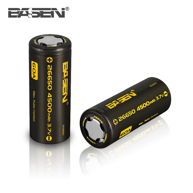 Yearly selling BASEN 26650 4500mah 3.7v lithium power tool battery 60A energizer battery