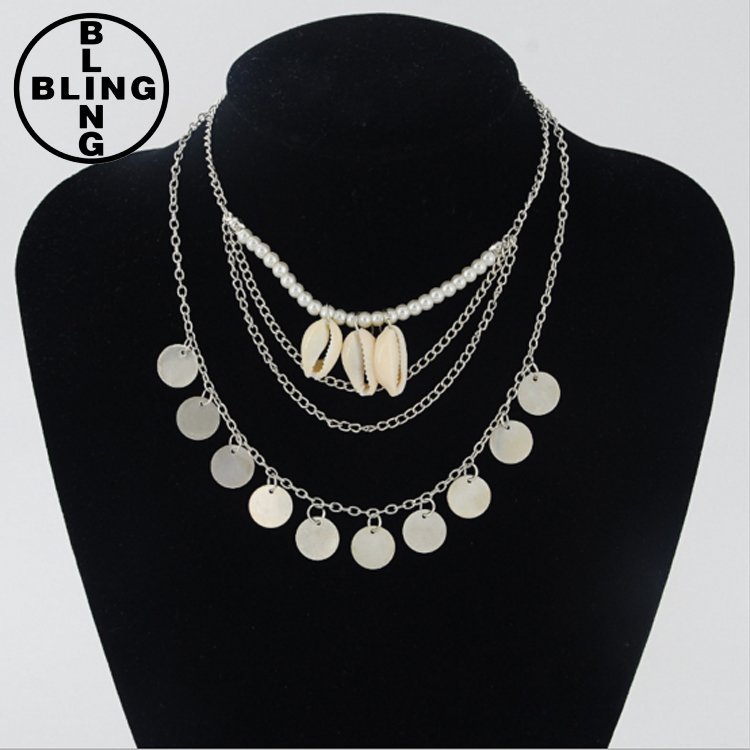 >>>European retro pearl bead necklace shell necklace multilayer chain necklace