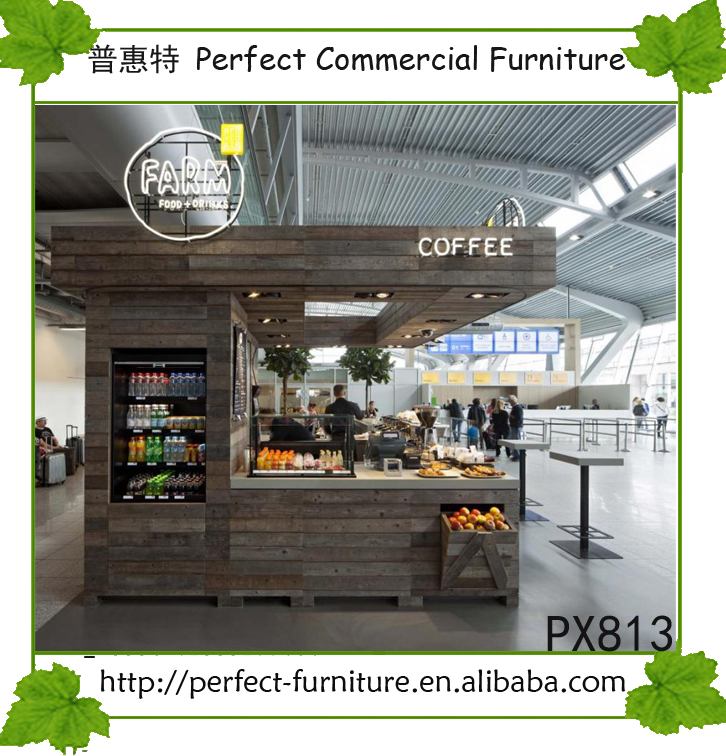 Mall fast food kiosk coffee kiosk bubble tea counter with LED drop lights