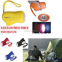 3LED hand press flashlight with LOGO print dynamo flash light best promotion item factory price