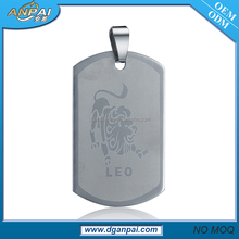 2017 New Design stainless steel zodiac LEO logo charm necklace pendant for women and men