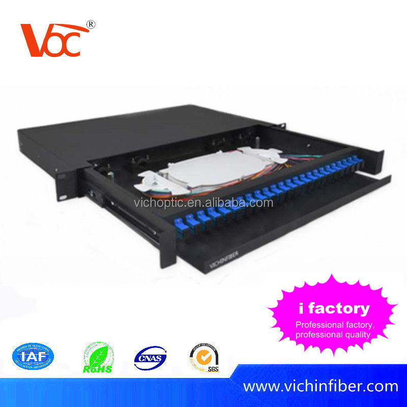 ODF 19 inch rack mount drawer type 24 port fiber patch panel with sc adapter