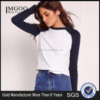 OEM Service Casual Plain Baseball T shirt 100% Cotton Long Sleeve Raglan Lady Tees