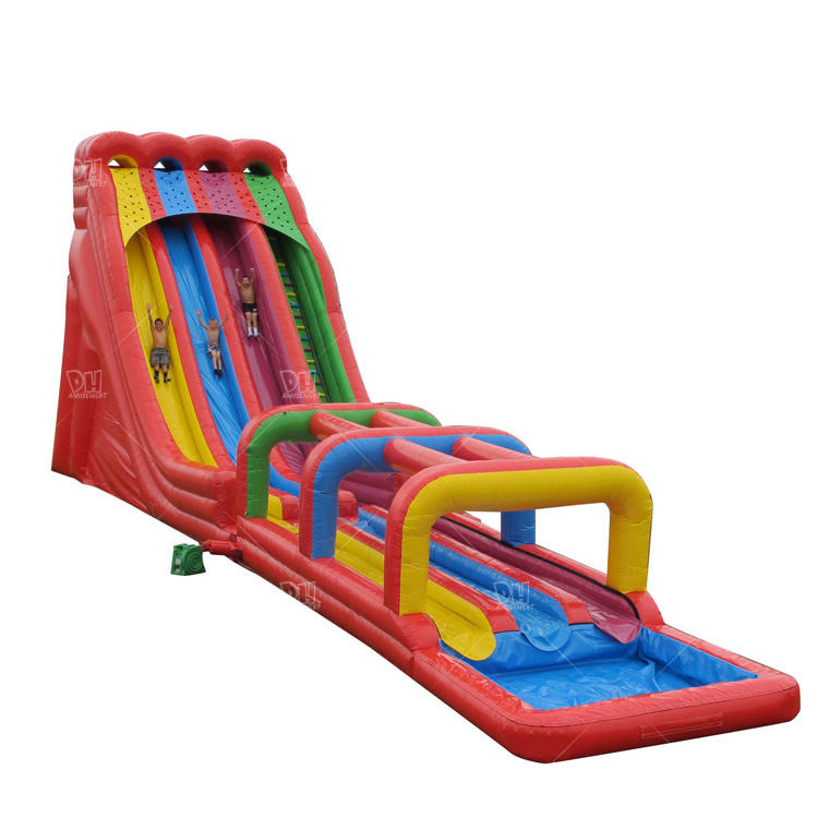 Hot sale rainbow color three lanes inflatable big water slide for adult