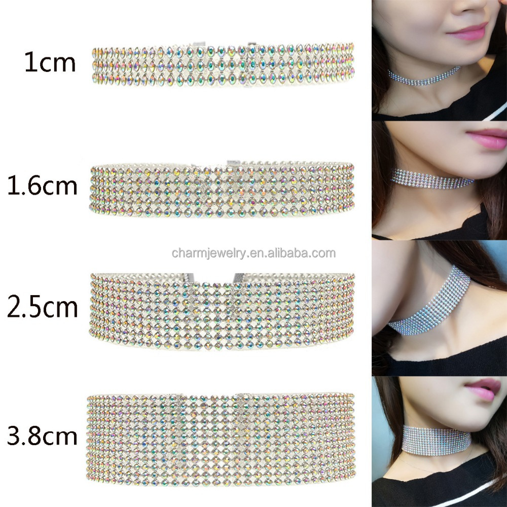 Wholesale Clear Rhinestone Crystal Choker Necklace Party Wedding Prom Jewelry for Women