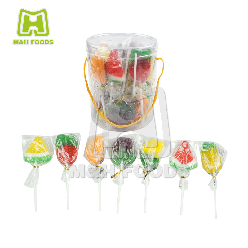 New Funny Fruit Shaped Hard Candy Fruit Flavor Lollipop Candy