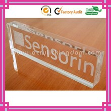 rectangular engraved or printed clear acrylic logo block