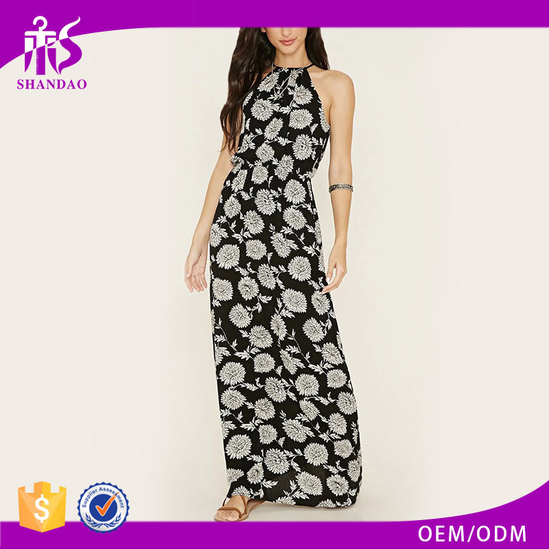 Shandao Vendor High Quality Fashionable Summer Sleeveless Printed Rayon Floor Length Formal Dresses Women