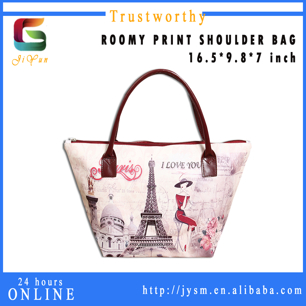 Lastest Styles Souvenir Retro Eiffel Tower Classic House lady leather handbag Printed Customize Handbag Manufacturers China