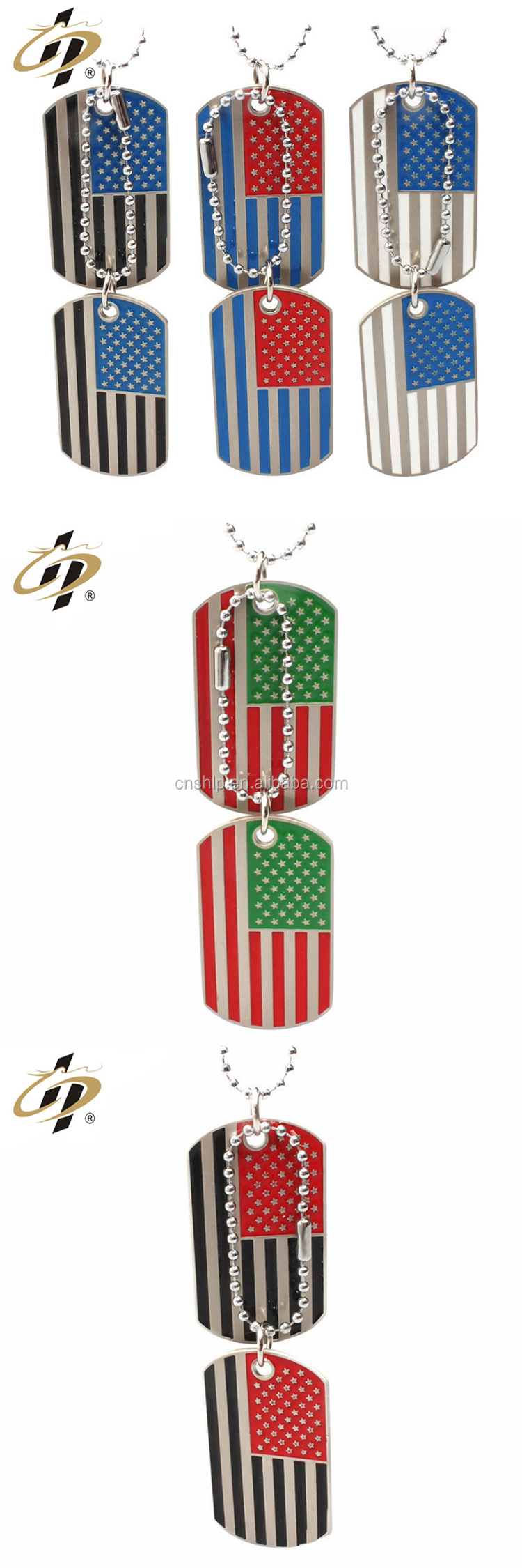 Wholesale custom metal American flag military souvenir dog tag