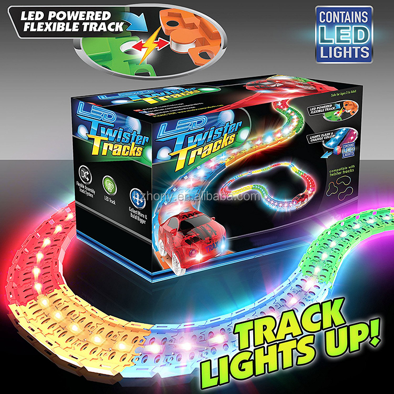 12 Feet of Light Up Flexible Track 1 Light Up Race Car Each Individual Track Piece Contains Lights LED Laser Twister Tracks