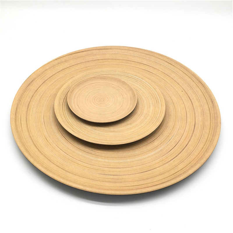 Custom Logo Round Plate <strong>Natural</strong> Bamboo Dinner Plate