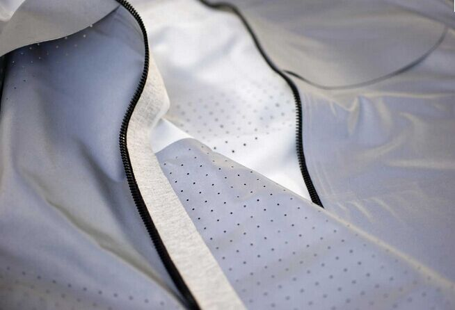 Silver grey spandex reflective fabric with breathable holes for swimwear