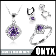 925 sterling silver purple crystal jewelry set with necklace adjustable wire hook ear studs and ring