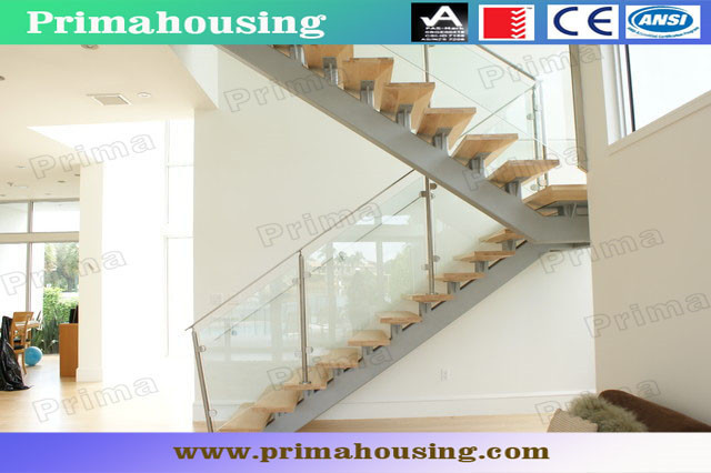 Elegant Rubber Wood Treads Staircase With Stainless Steel Glass Balustrade