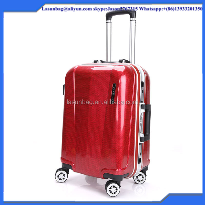 2016 New Fashion Design linen lines Red Color Women Classic Trolley Luggage Bags