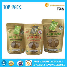 High quality plastic stand up zipper packaging kraft paper bag for nuts