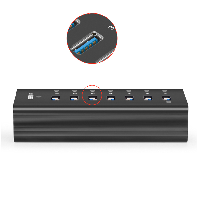36W 7-Port USB 3.0 Data Hub with BC 1.2 Charging Port for PC, USB Flash Storage